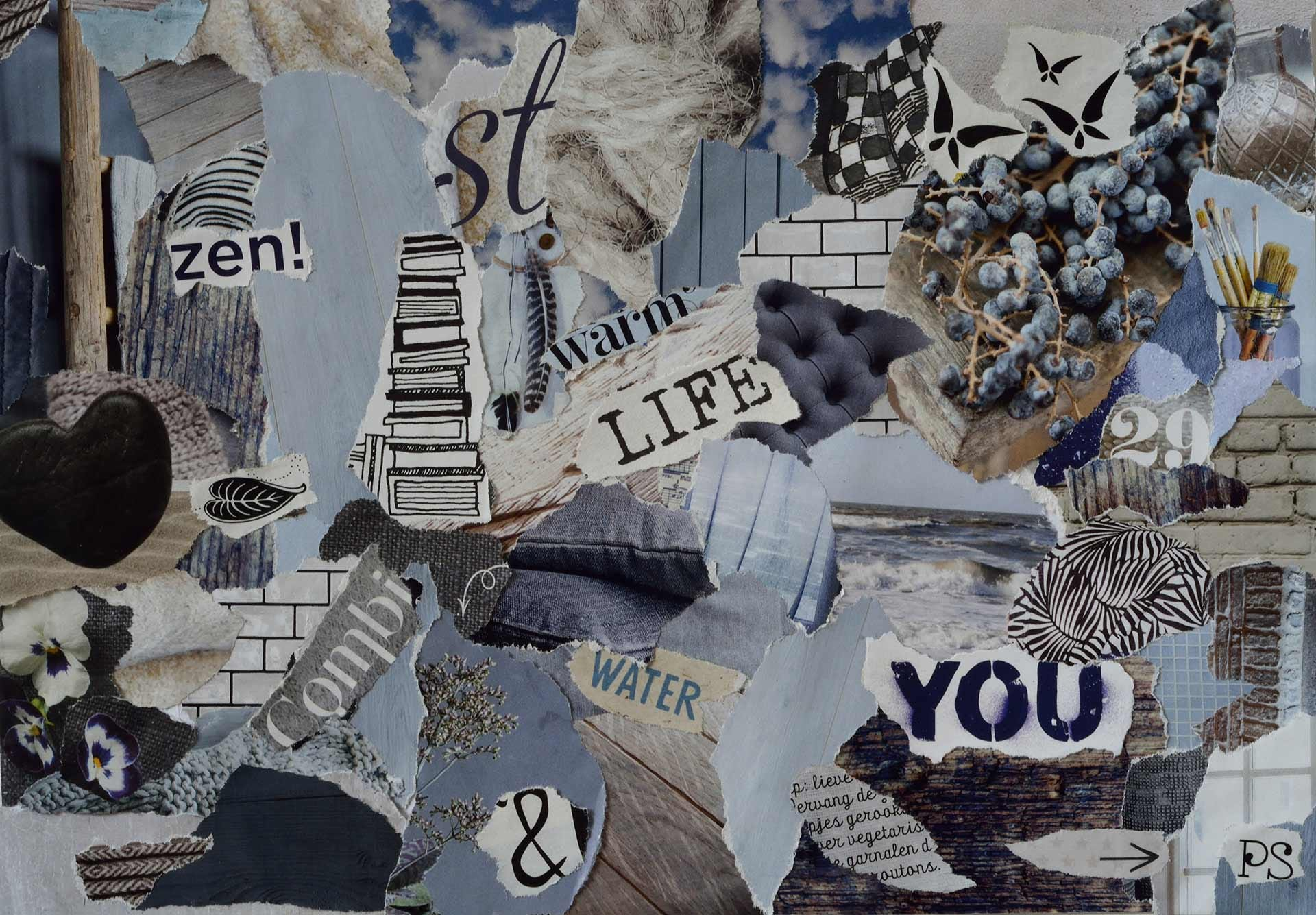 An analog collage made up of magazine clippings.