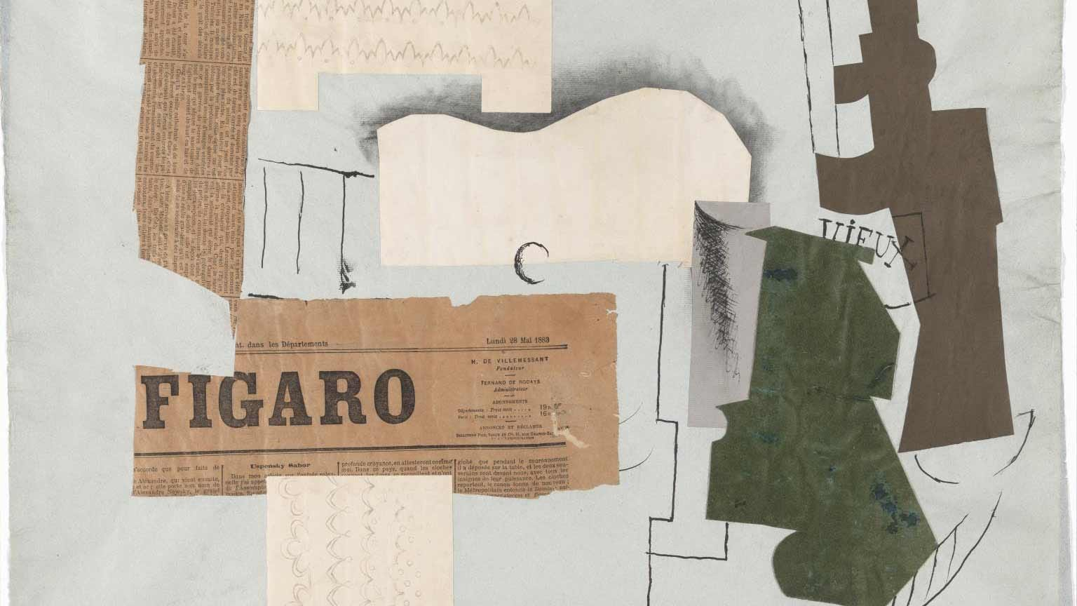 An example of early collage by Pablo Picasso.