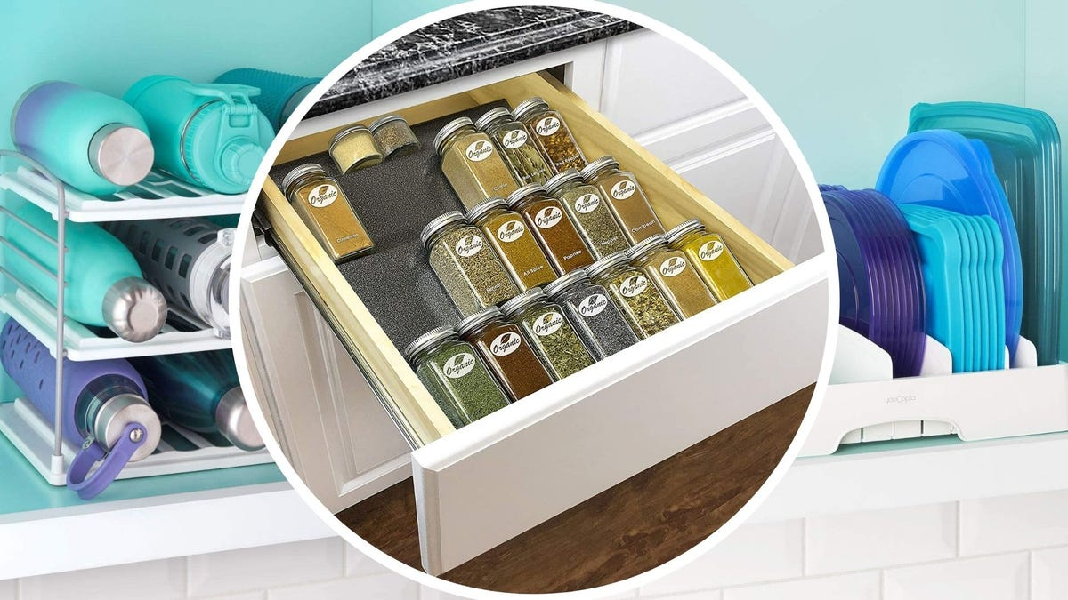 Water bottle and food container lid racks by YouCopia, and a spice rack drawer insert by Lynk.