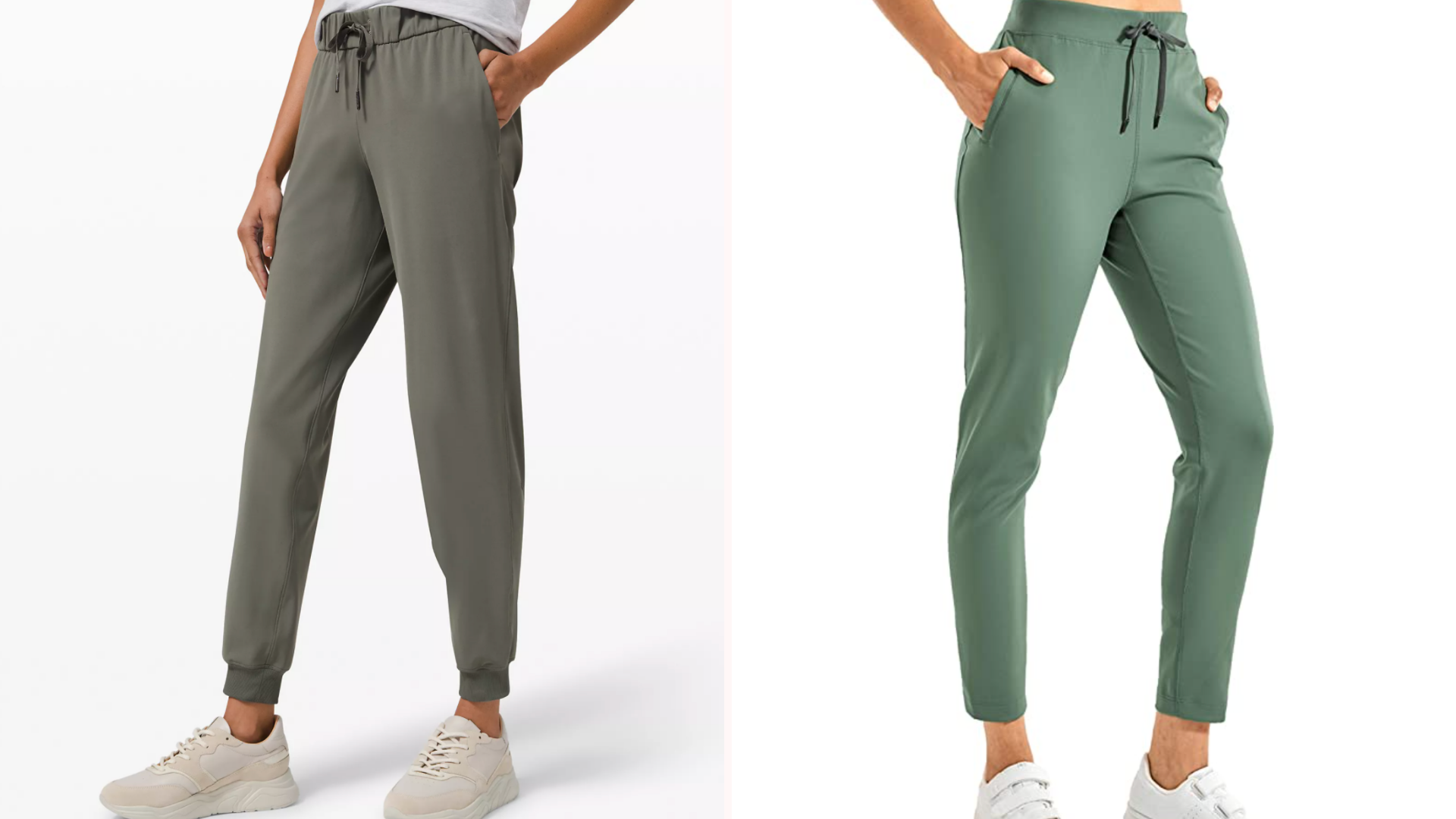 two green joggers side by side