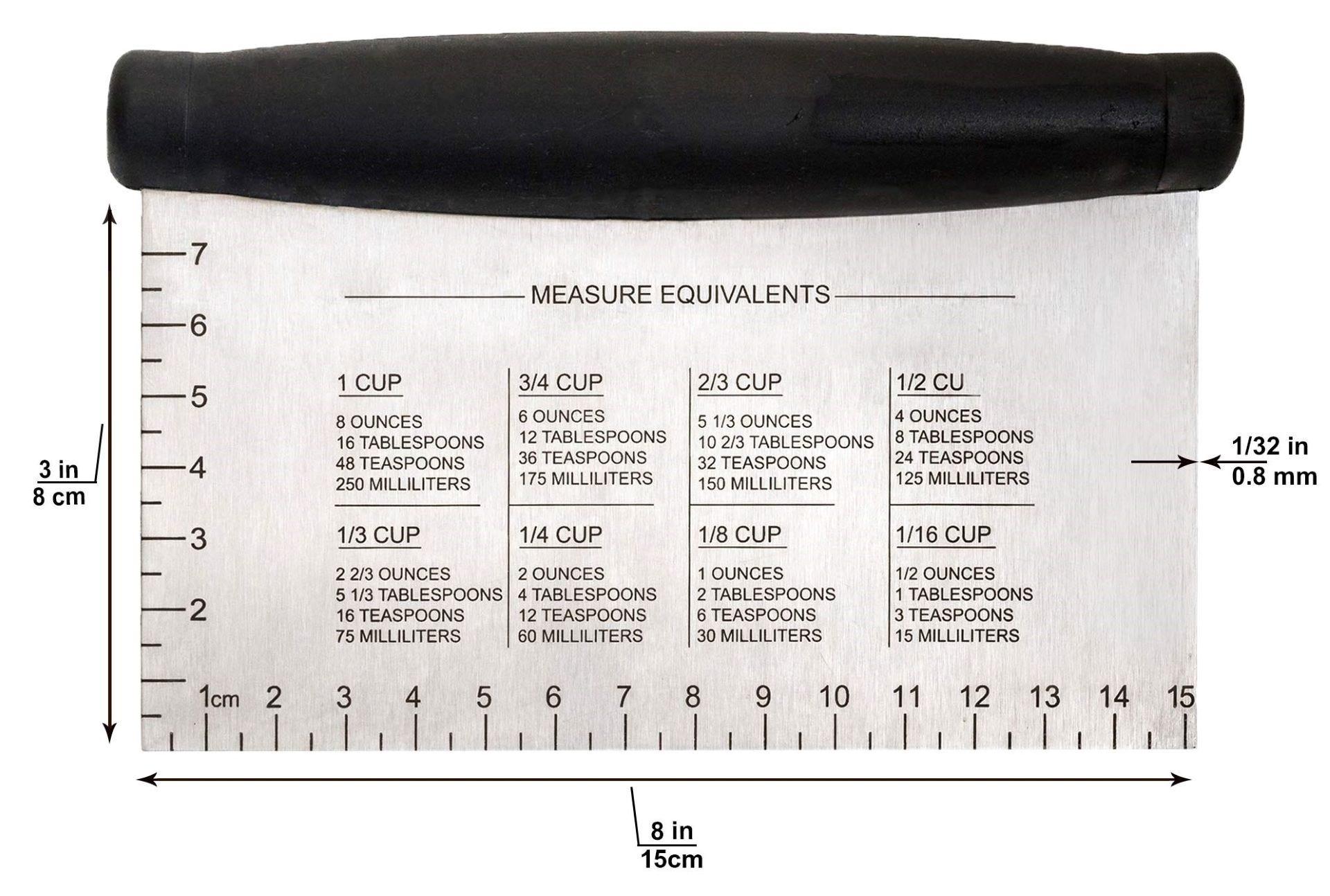 Metal scraper with measurements on it.