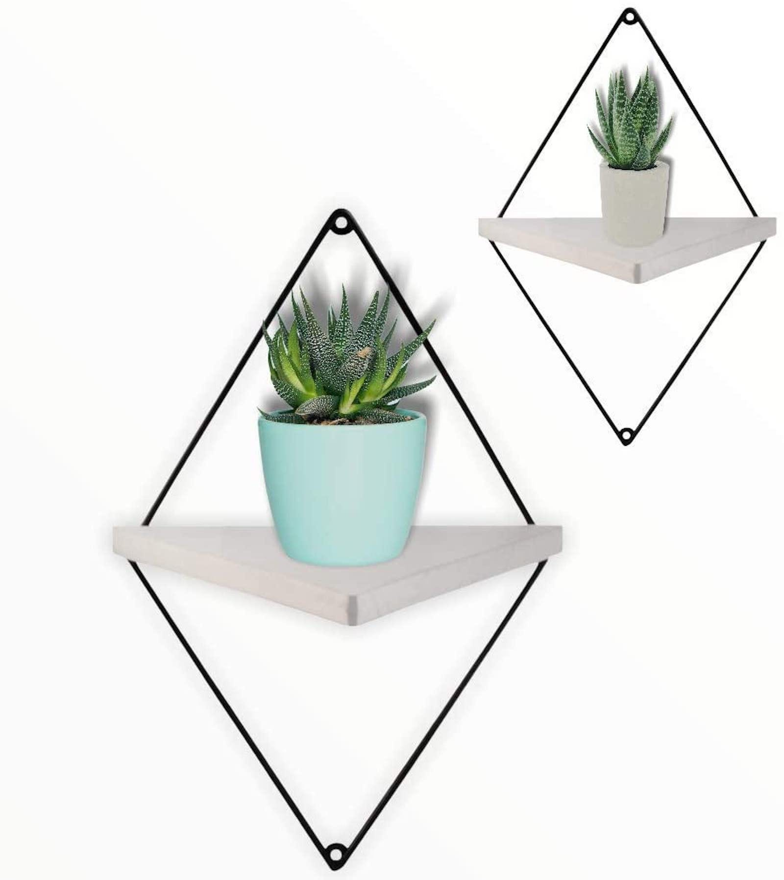 Two triangular shelves with succulents on them, with black diamond frames