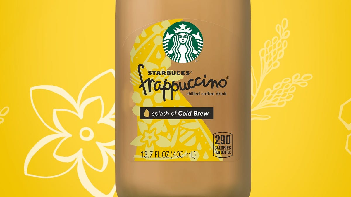 A bottle of Starbucks Splash of Cold Brew Frappuccino.