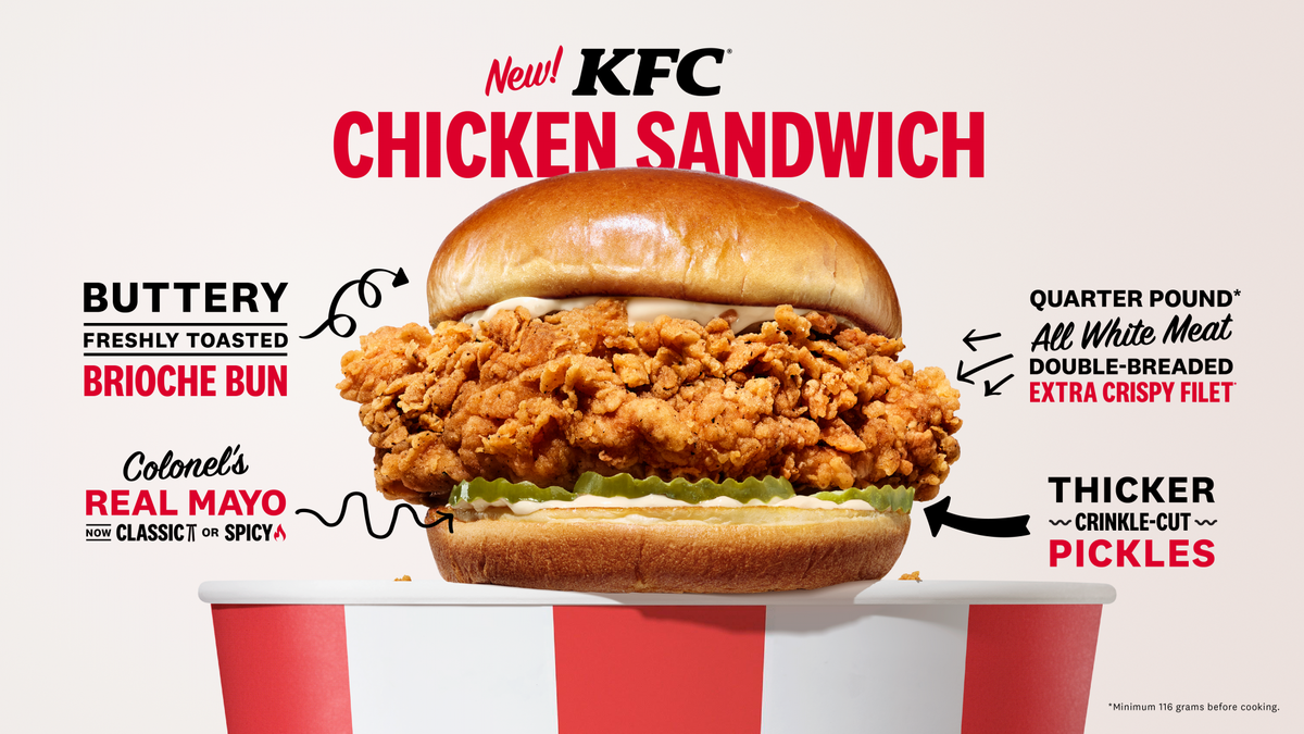 Kentucky Fried Chicken's new chicken sandwich will be available nationwide in February.