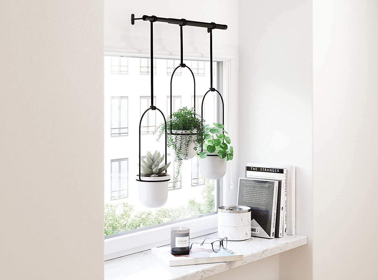 Three white pots hanging from a black window rod in front of a window