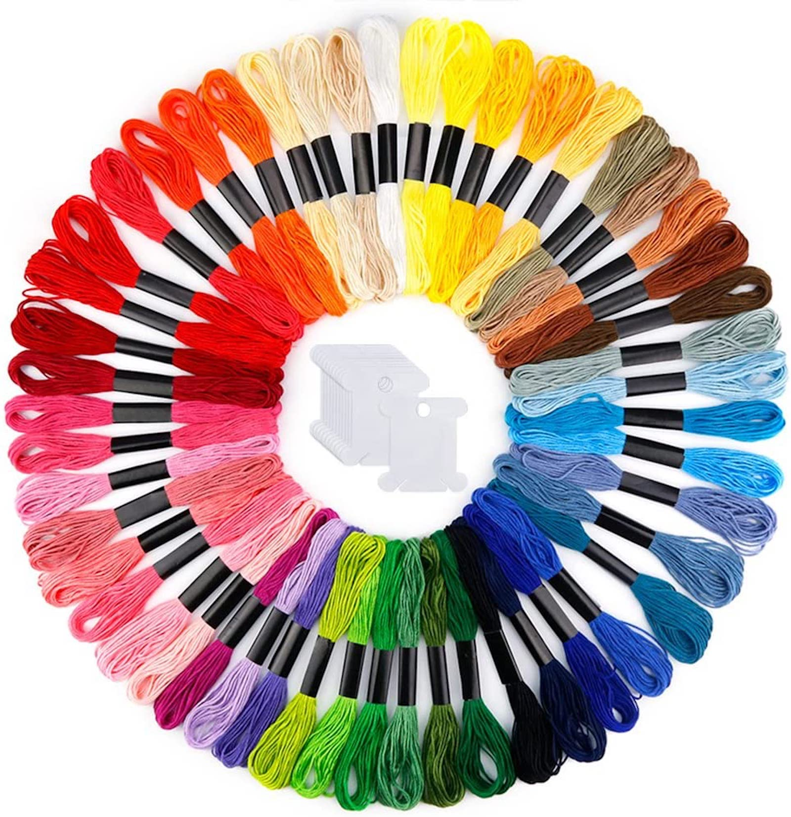 A rainbow of thread skeins, arranged in a gradient circle