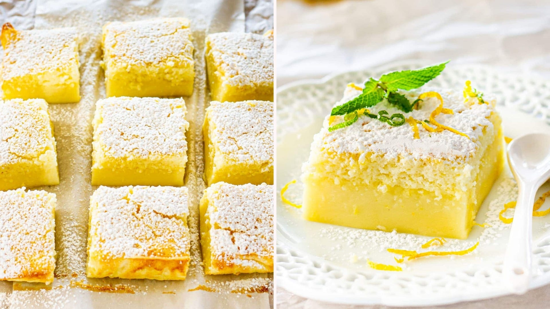 Slices of lemon cake with three layers