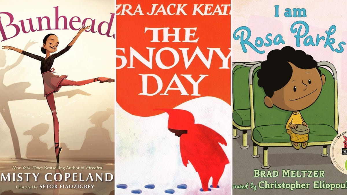 """The covers of """"Bunhead,"""" """"The Snowy Day,"""" and """"I am Rosa Parks."""""""