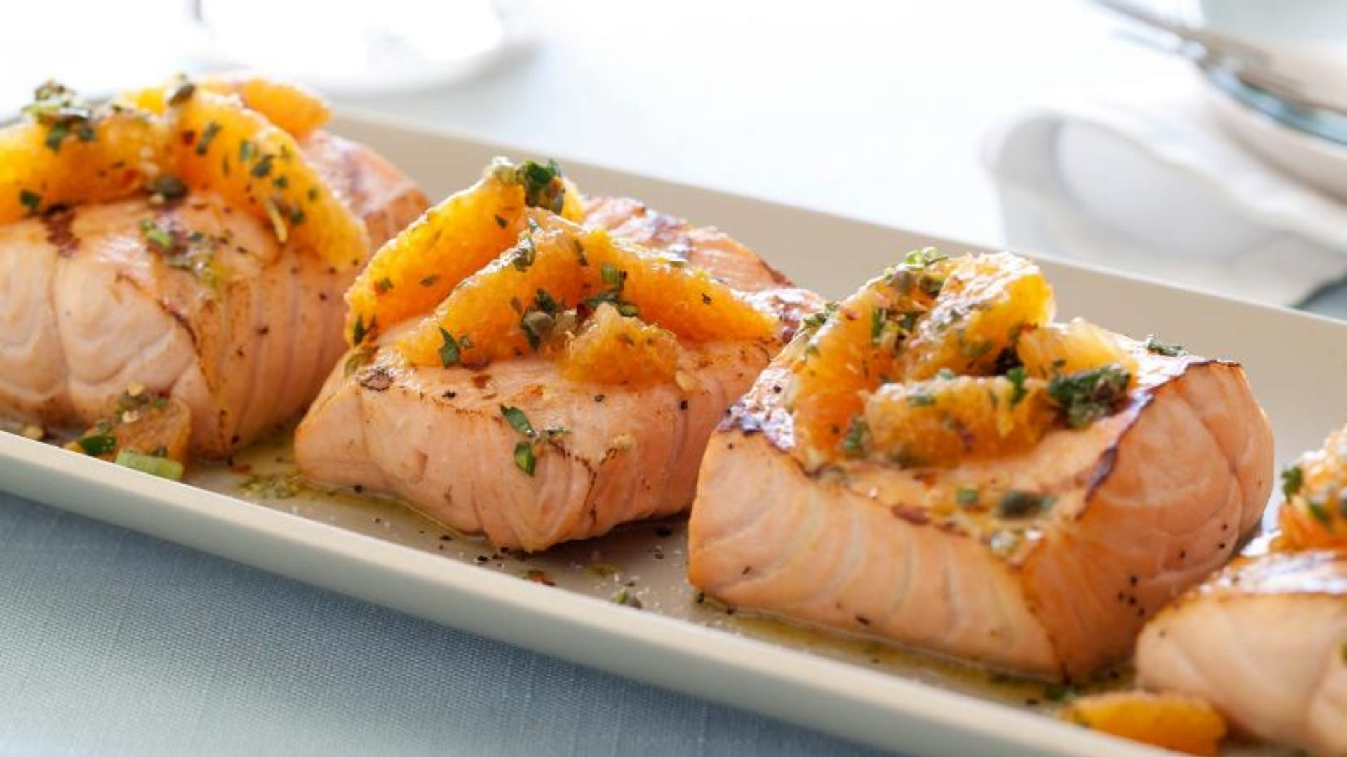 Salmon with citrus salsa on top