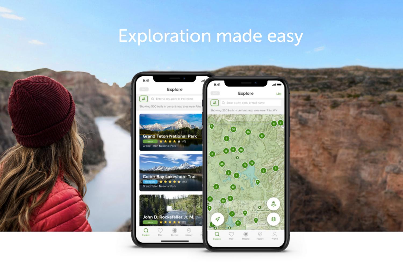 The splashpage for the app AllTrails.