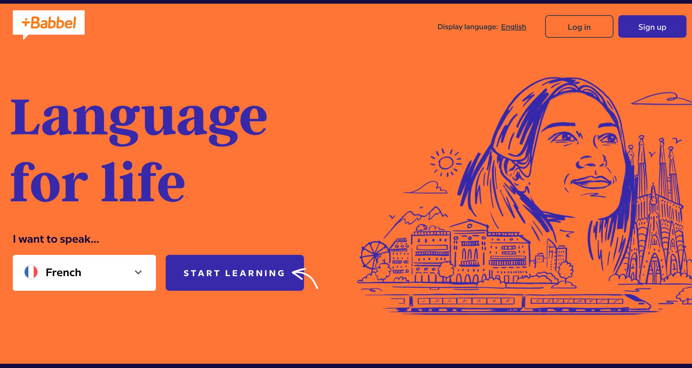 homescreen of Babbel language program
