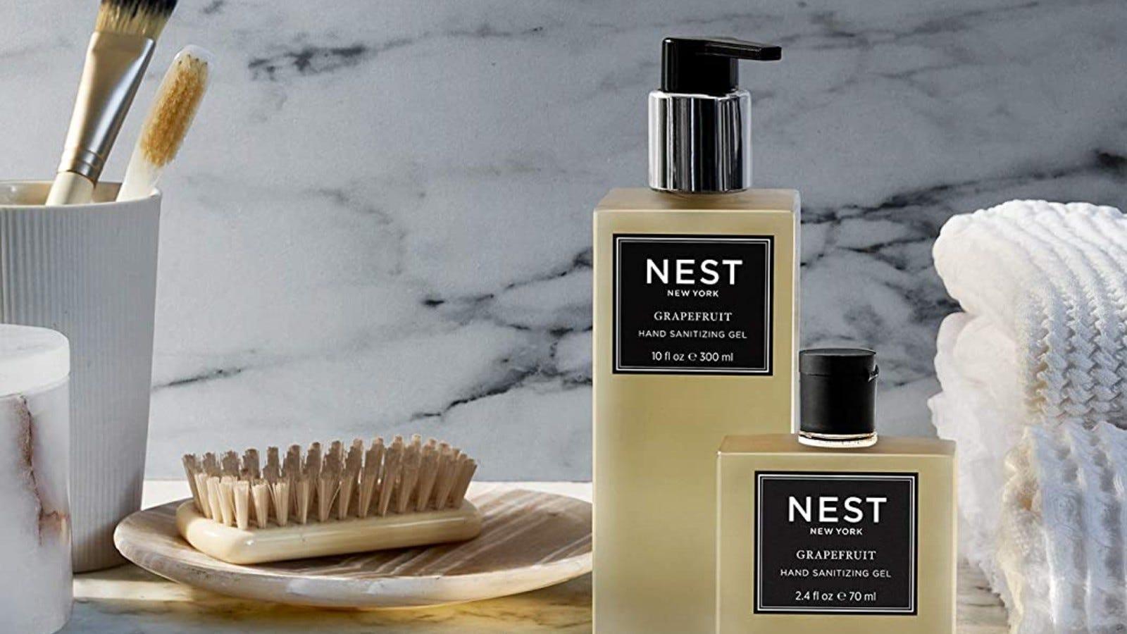 Nest hand sanitizer on a bathroom shelf