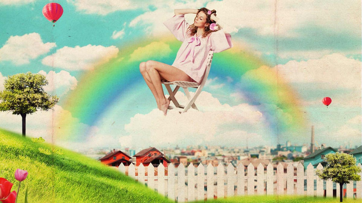 A vintage-looking collage featuring a woman floating on a cloud over a mid-century suburban landscape.