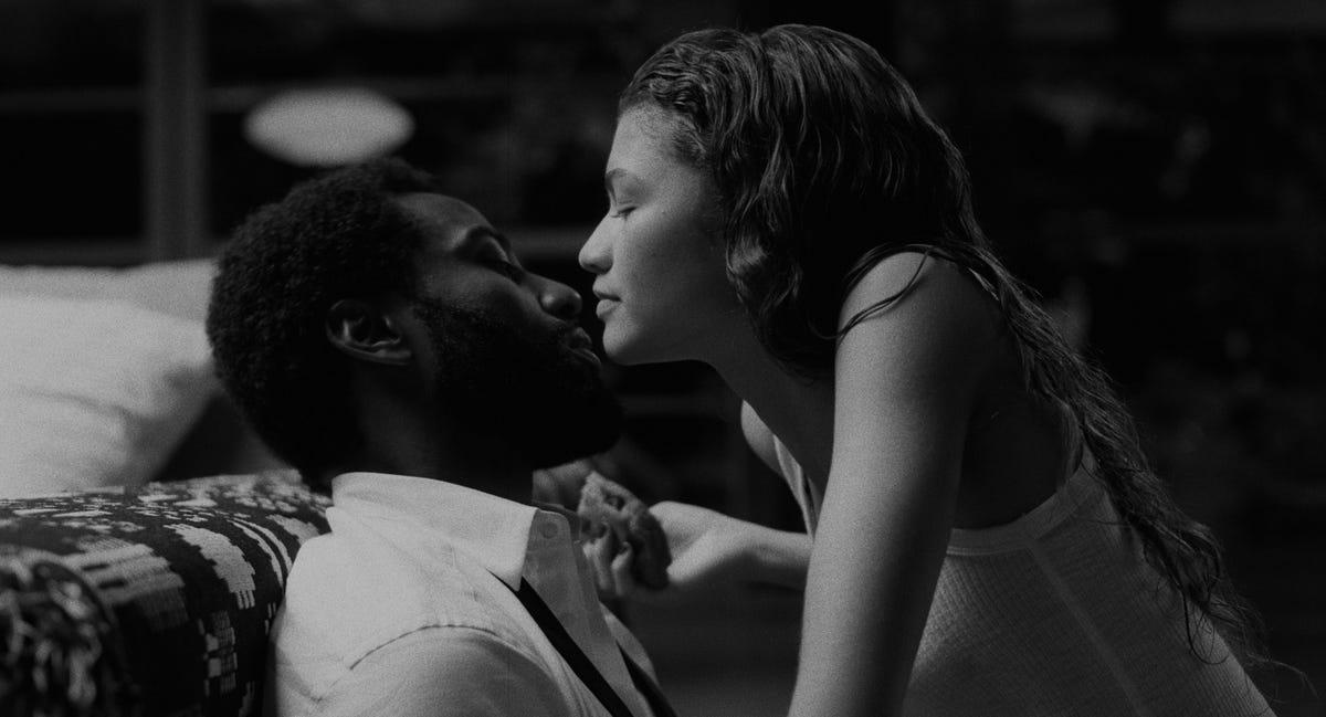 "Zendaya and John David Washington in a scene from ""Malcolm and Marie."""