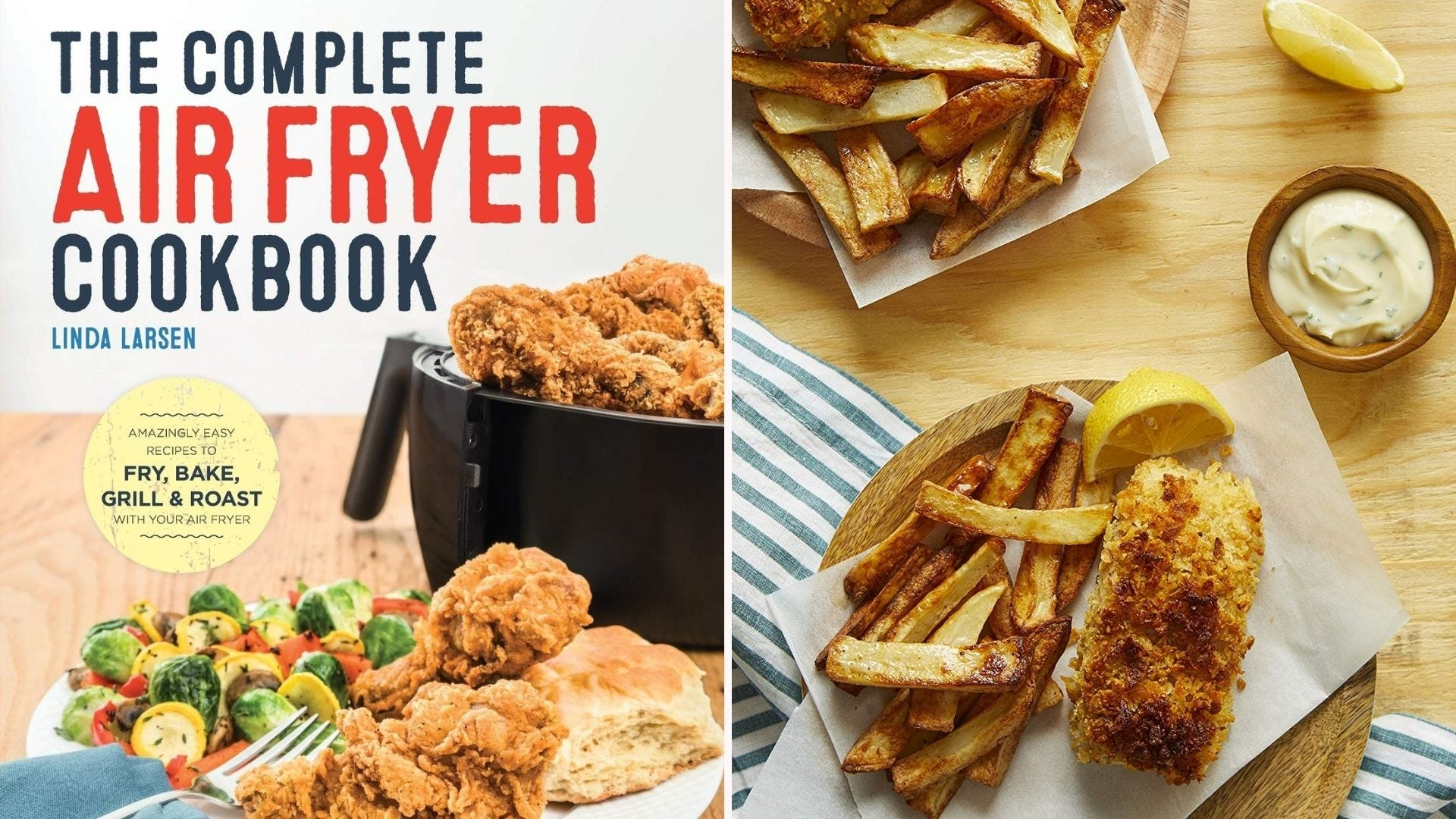 An air fryer cookbook with examples of the recipes found inside.