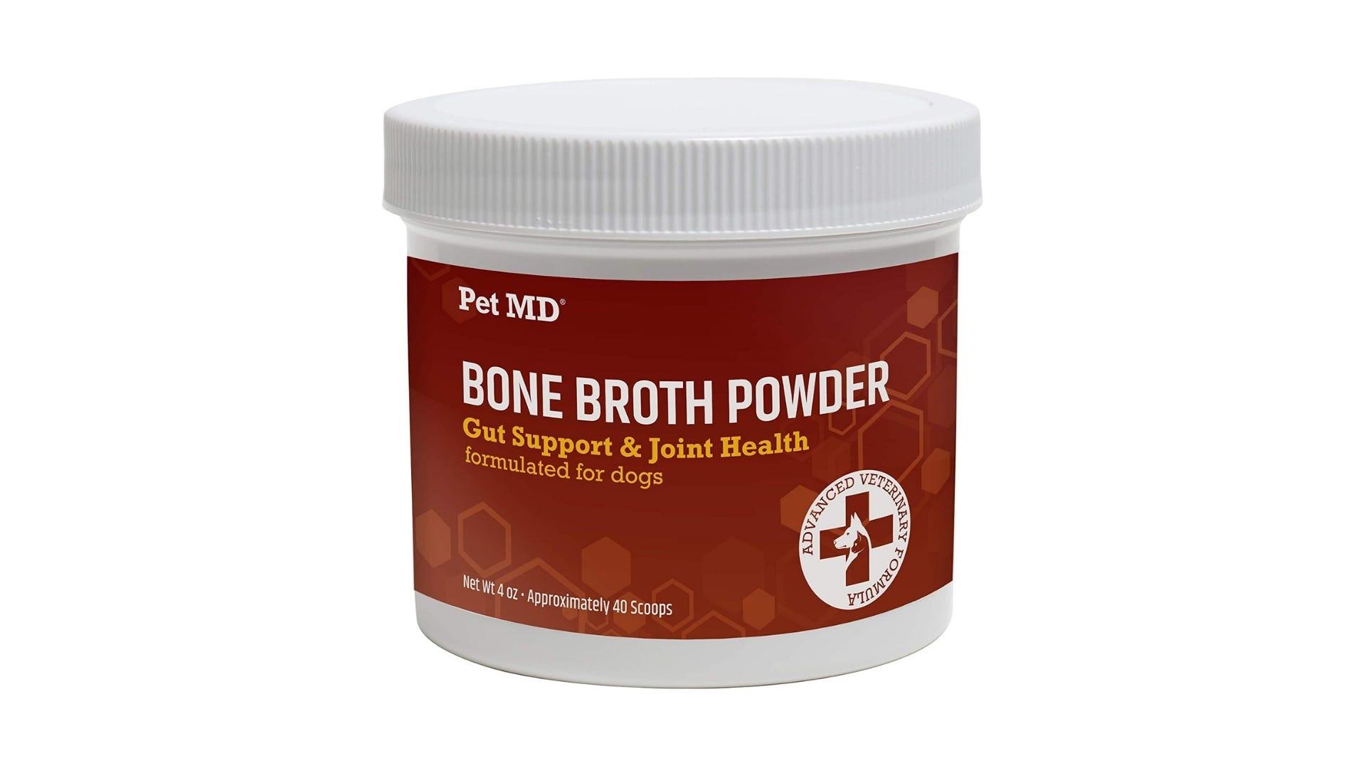 white container of bone broth powder