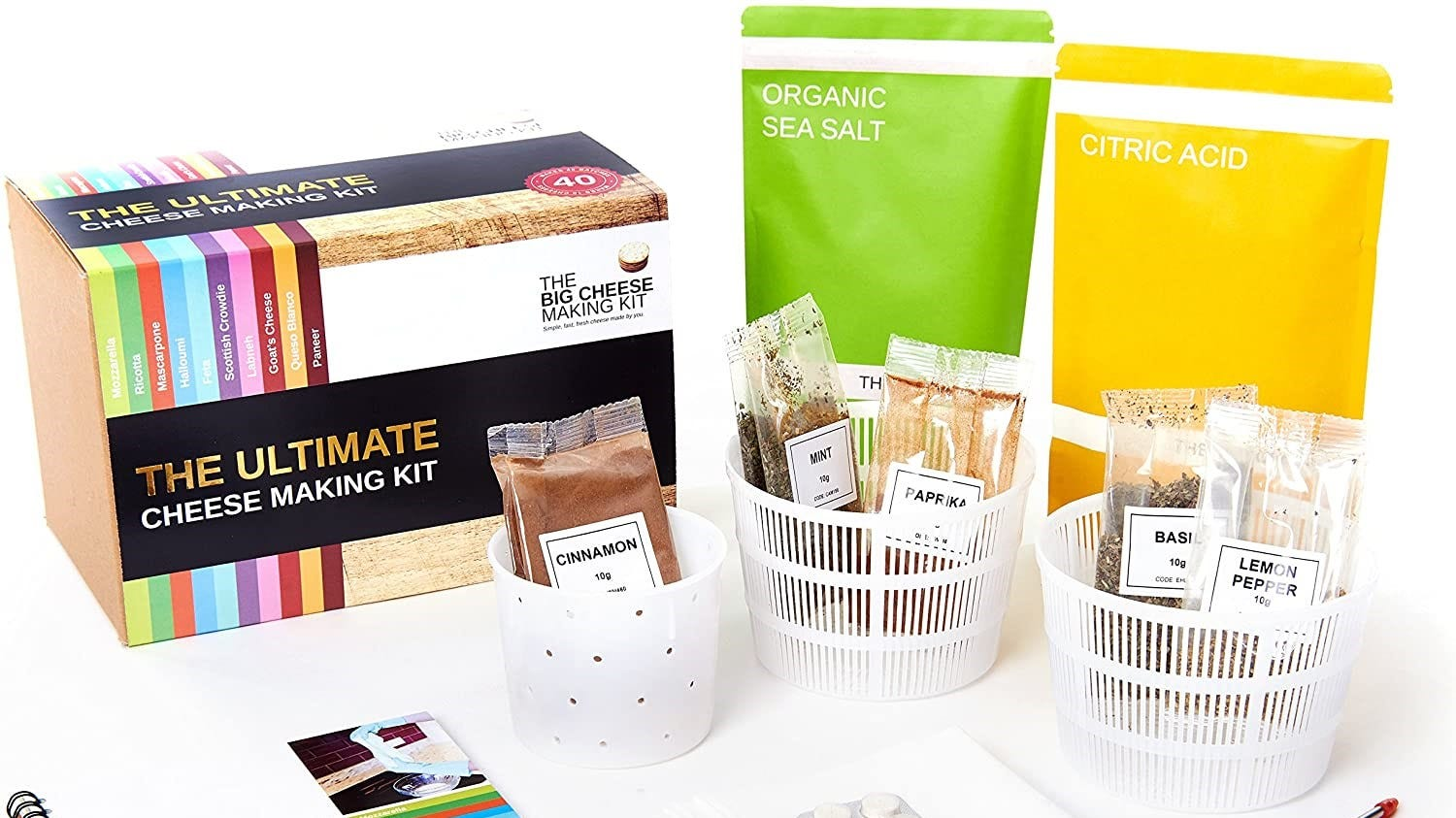 Some of the supplies in the Ultimate Cheese Making Kit.