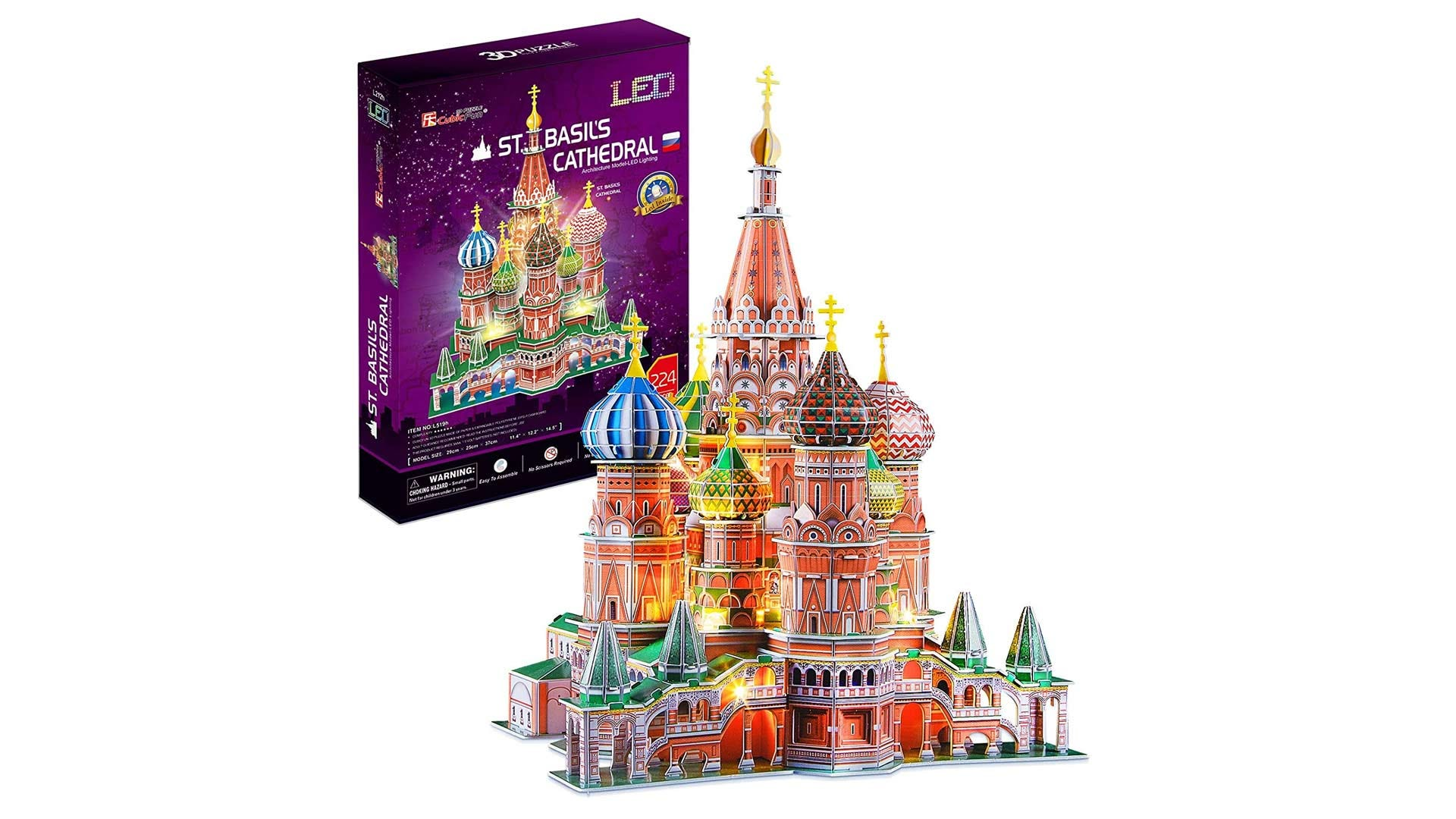 A 3D puzzle version of St. Basil's Cathedral with LED lights.