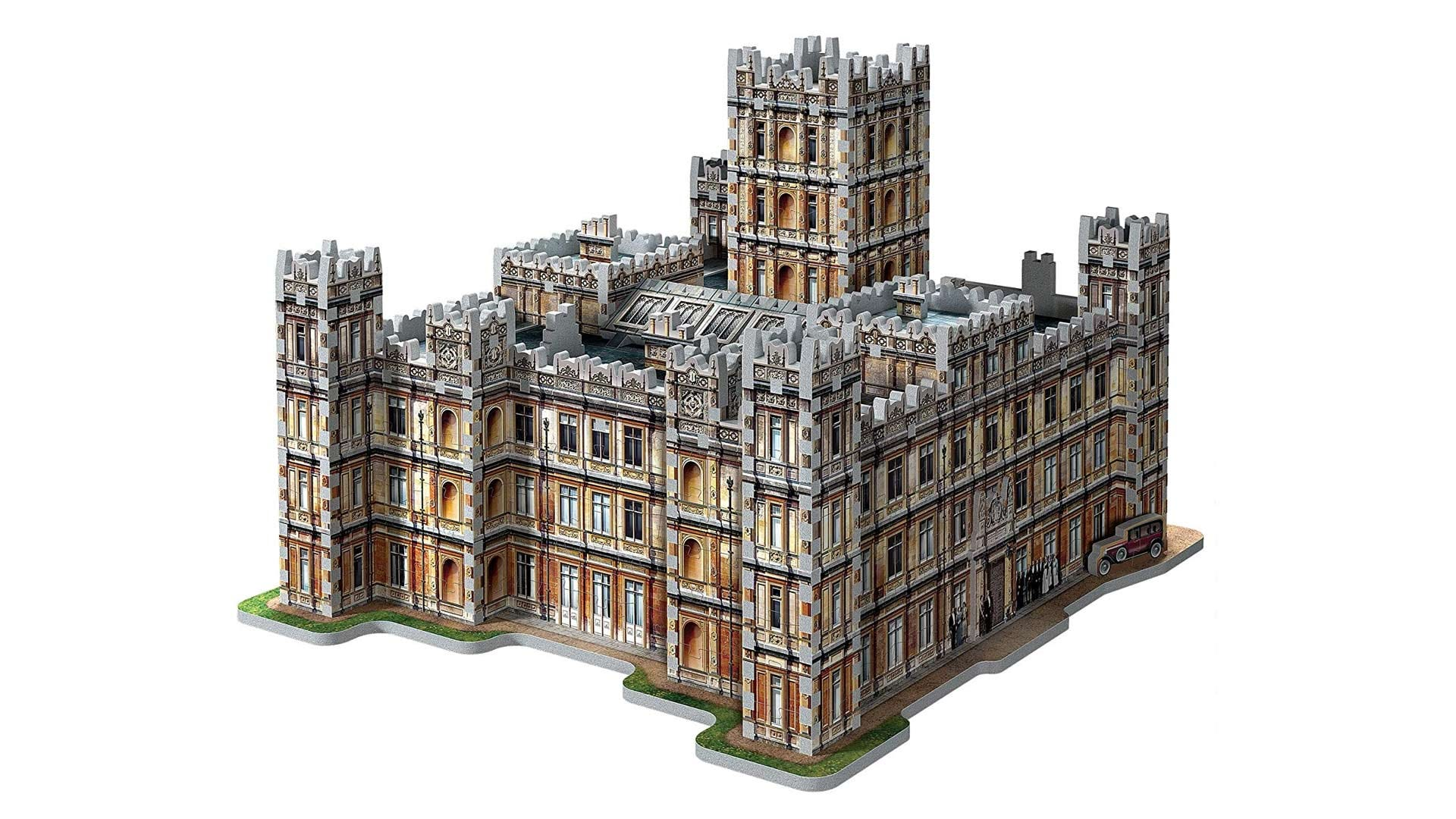 The Downton Abbey castle rendered in 3D puzzle form.