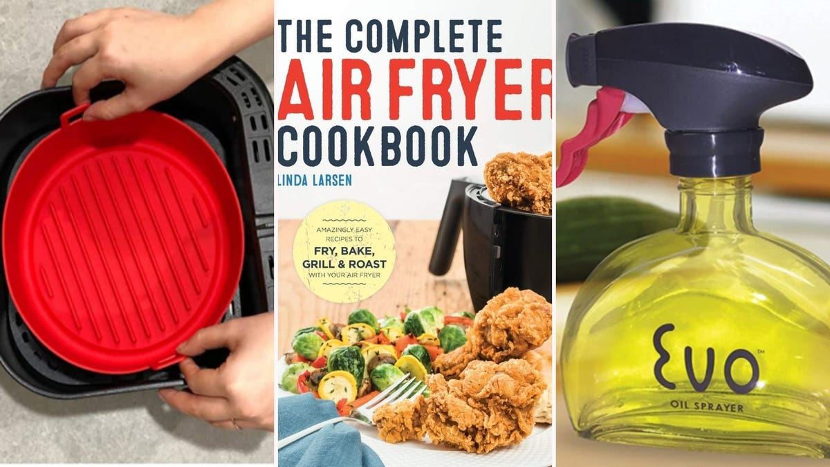 """A silicone pot, the cookbook titled """"The Complete Air Fryer Cookbook"""" and an EVO oil sprayer bottle."""