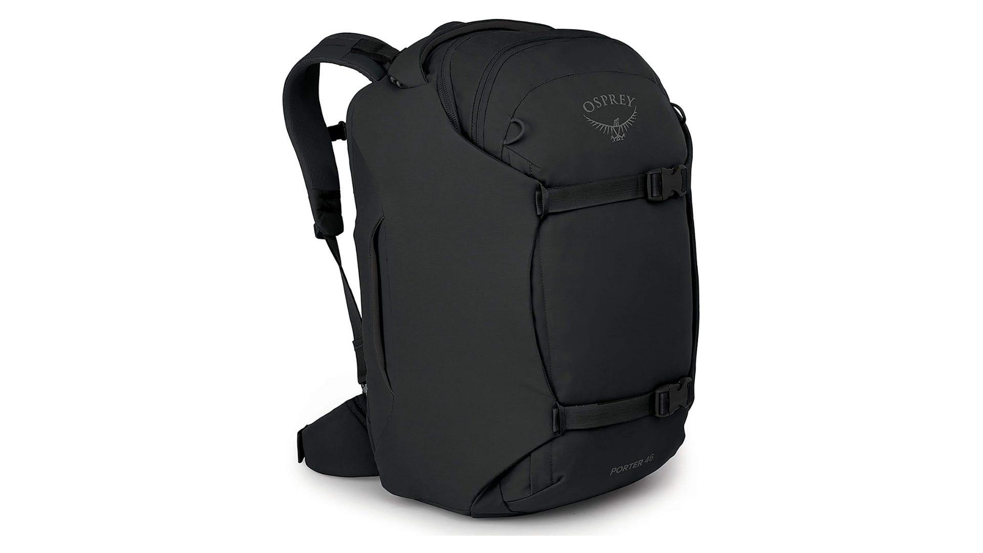 The black Osprey travel backpack.