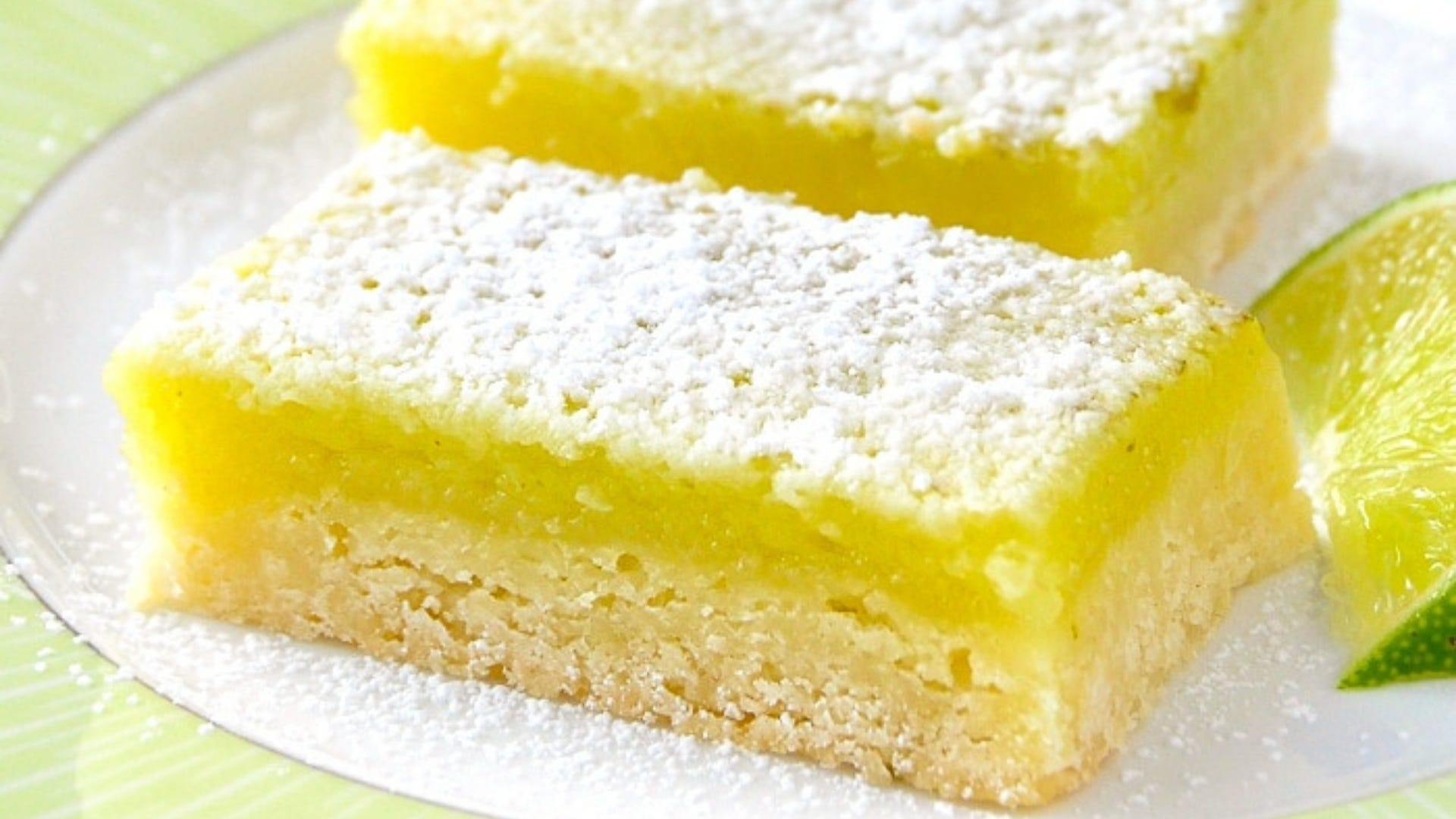 two lime bars on a plate