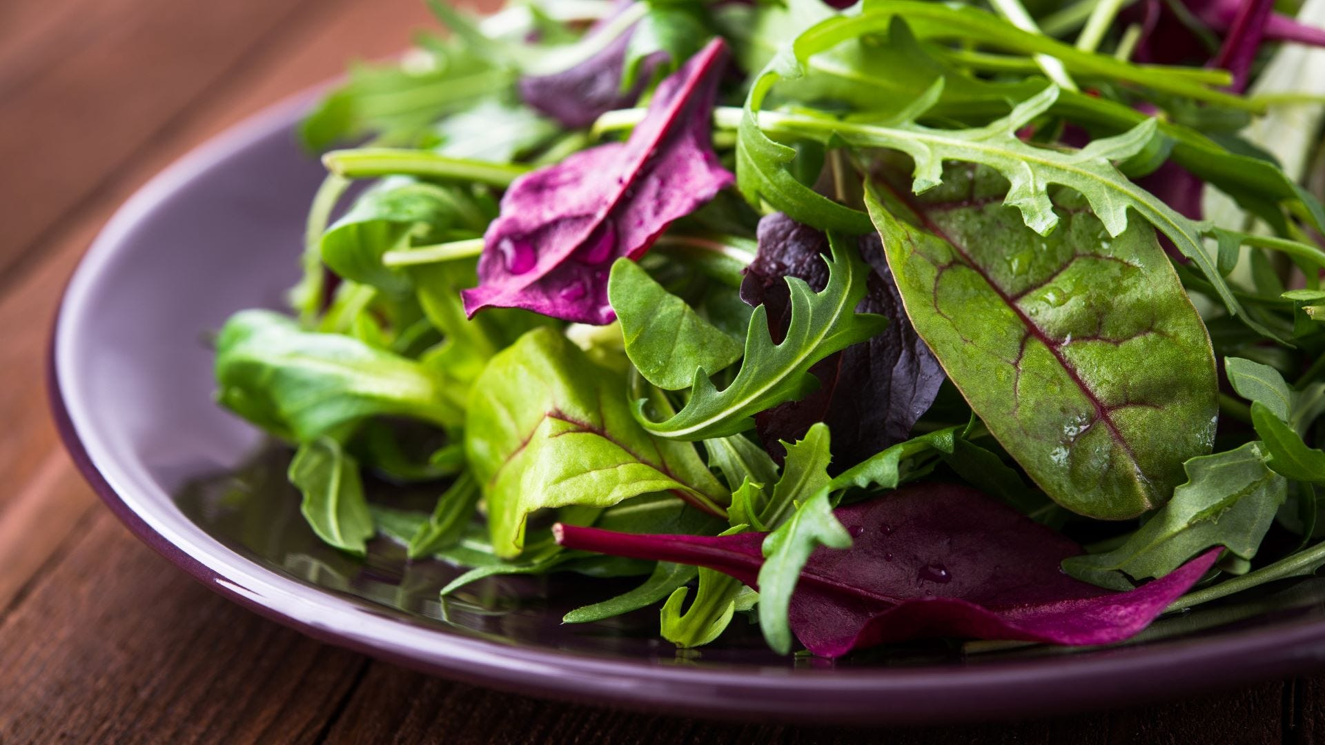A mixed green salad with arugula, mesclun, and mache on a plate.