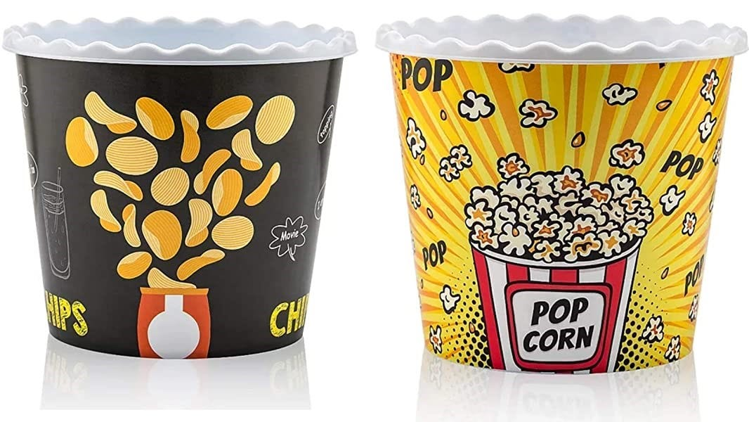 Two theater-style popcorn buckets.