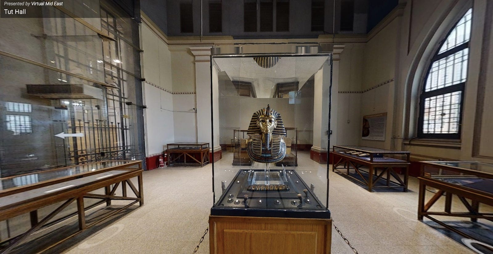 King Tut's golden mask in the Tut Hall at the Egyptian Museum.