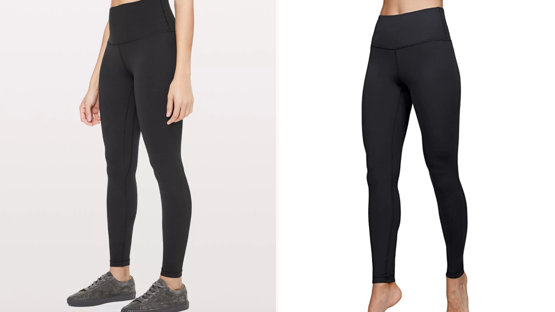 two black leggings side by side