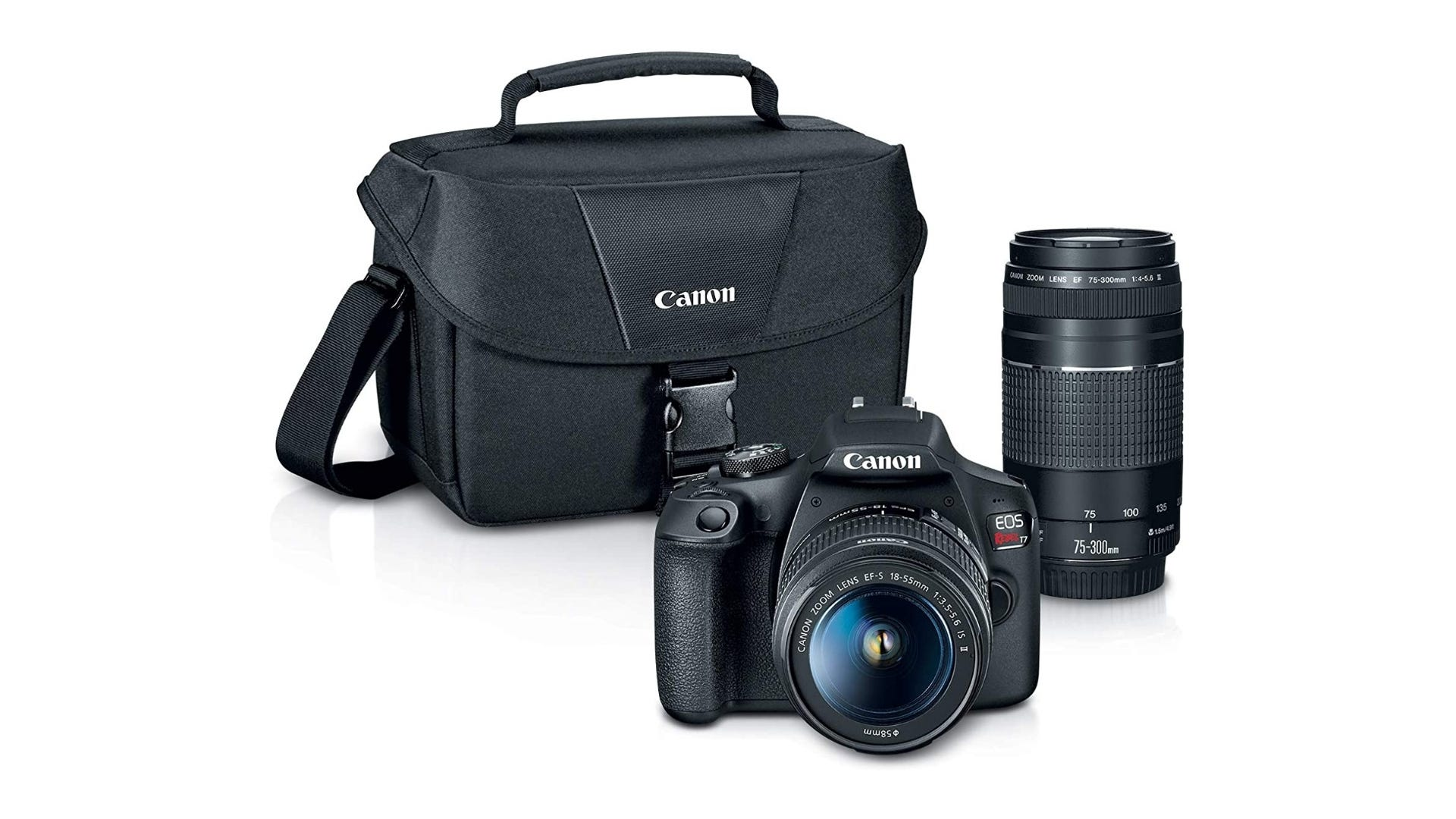 The Canon DSLR camera kit with bag and lens.