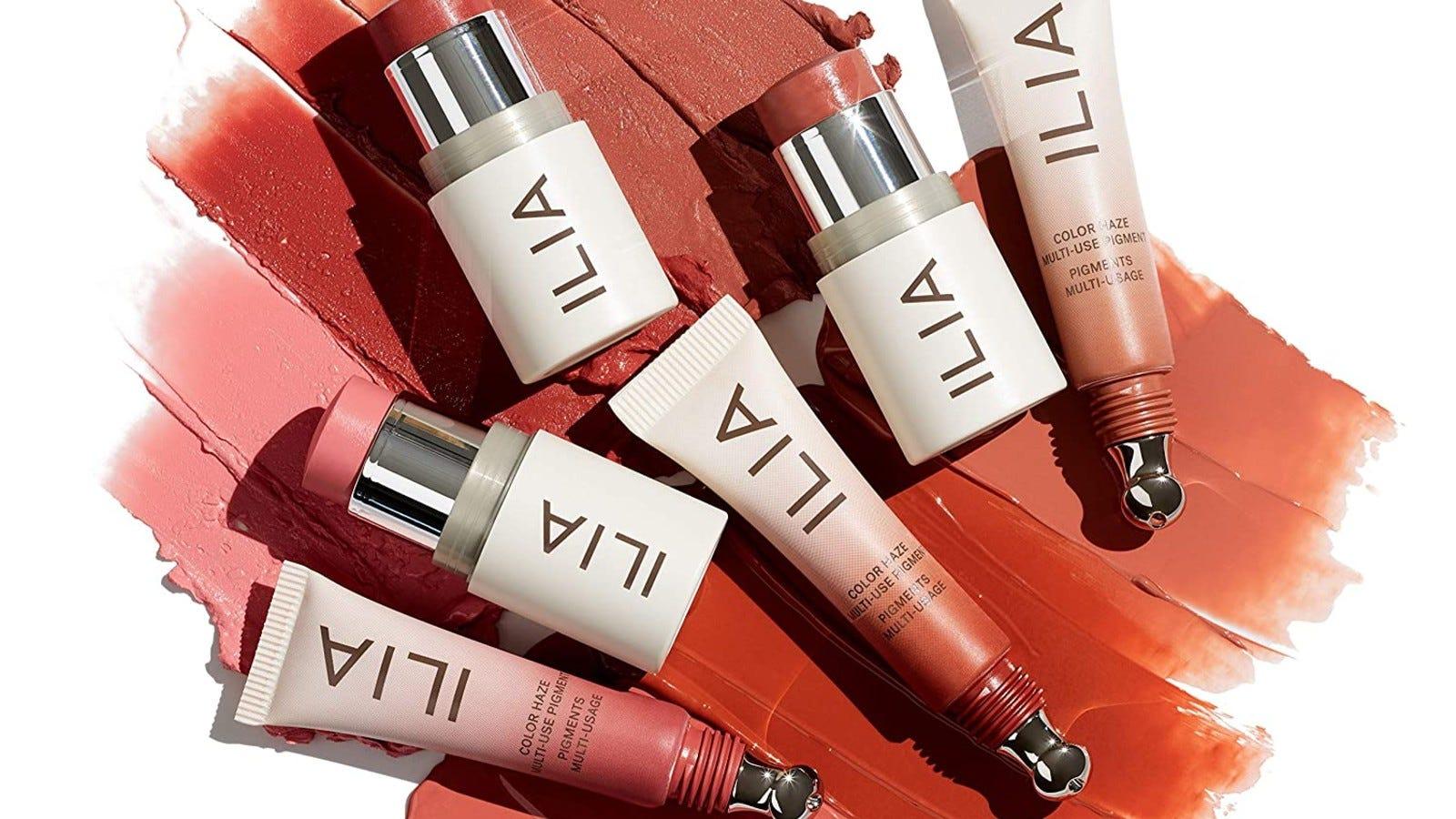 Ilia skincare products on makeup