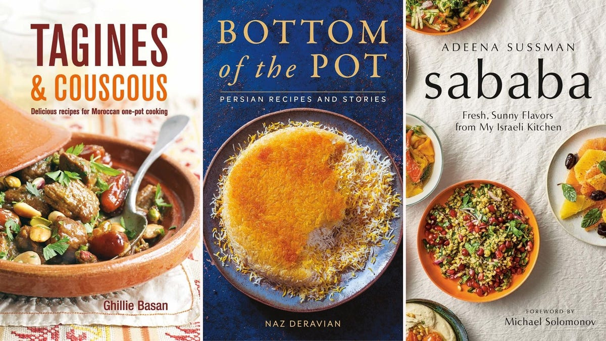 """The """"Tangines & Couscous,"""" """"Bottom of the Pot,"""" and """"Sababa"""" book covers."""