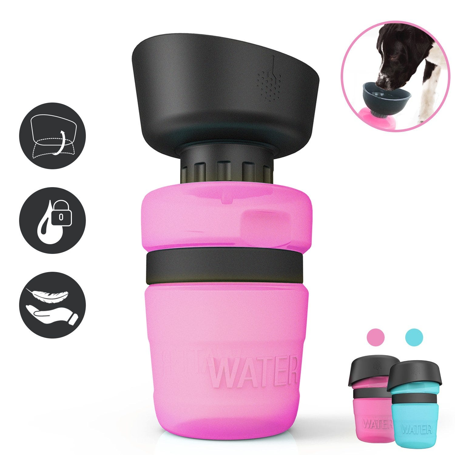 The lesotc Pet Water Bottle for Dogs.