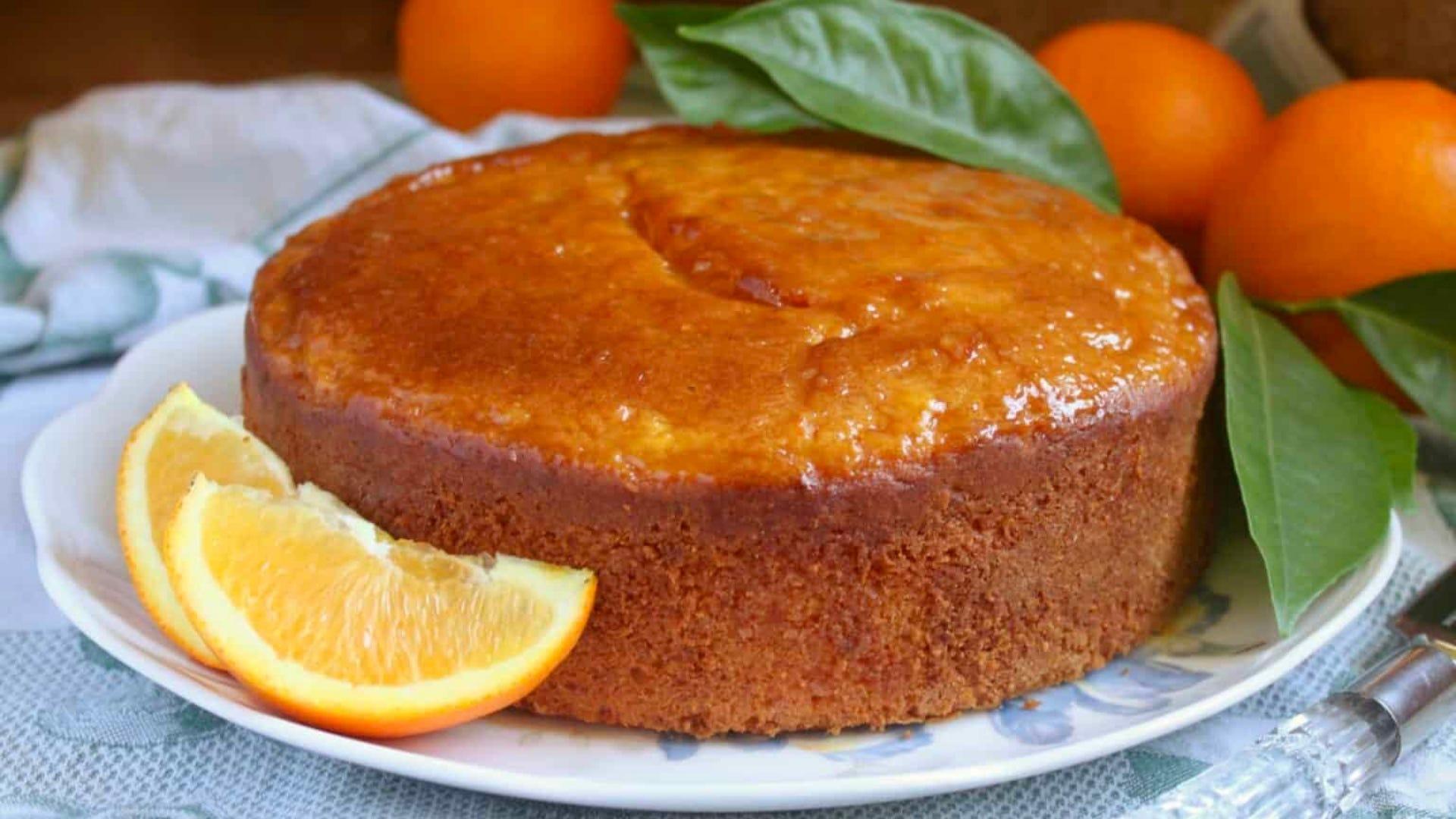 round cake with orange slices
