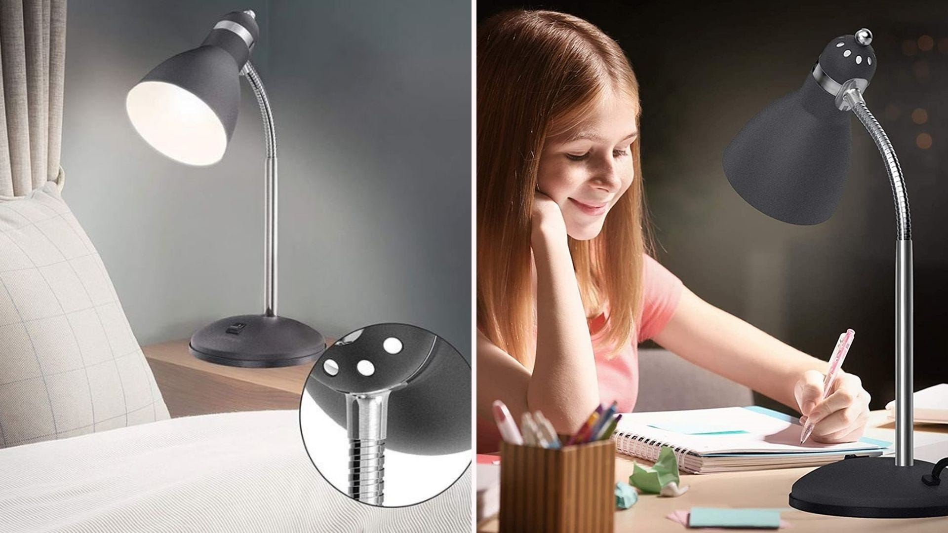 The LEPOWER desk lamp in Sand Black on a bedside table and on a desk where a young girl is doing homework.