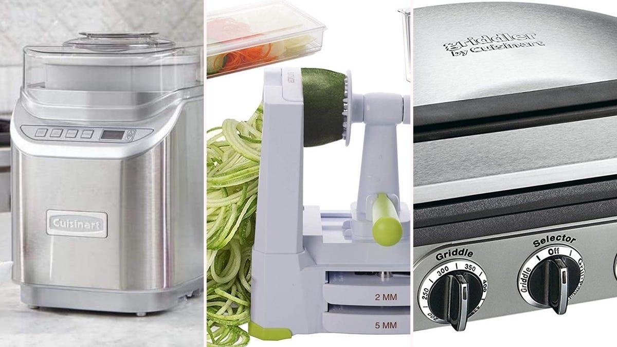 A silver ice cream maker, a white spiralizer, and a silver panini press.