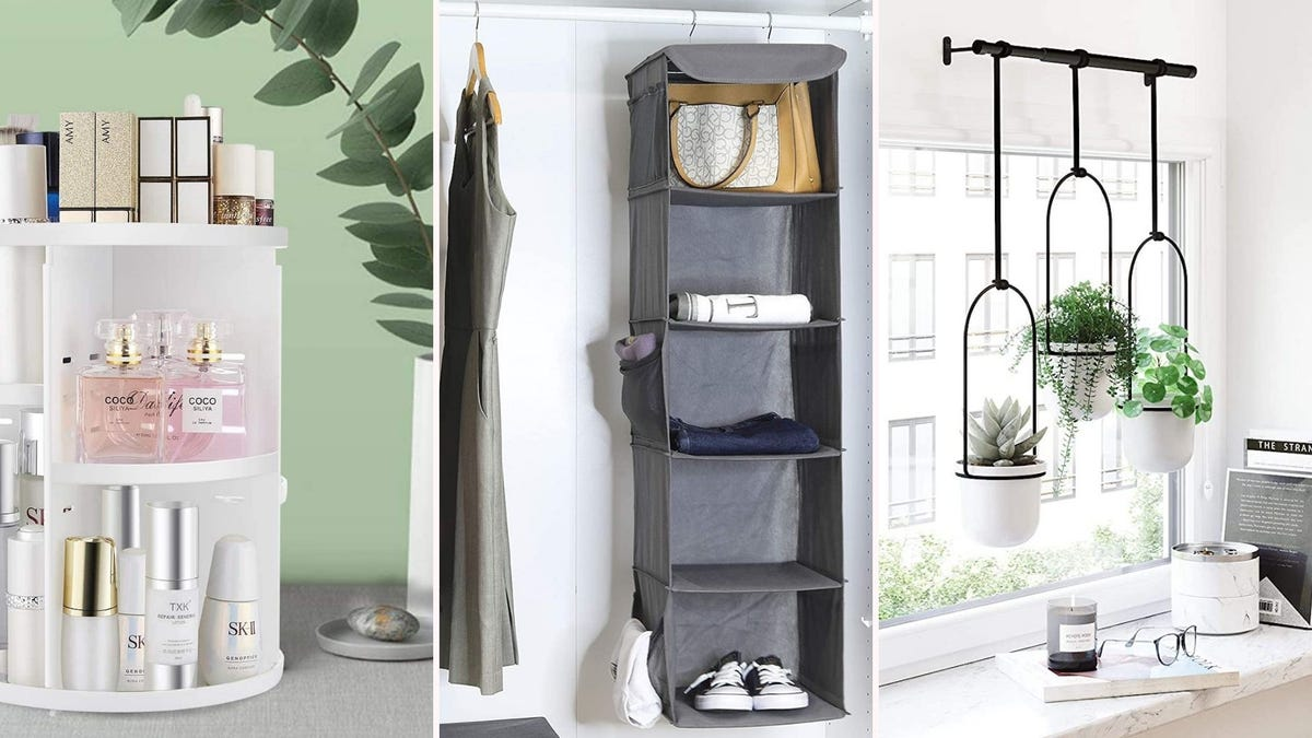A rotating makeup caddy, a hanging closet organizer, and three hanging potted plants