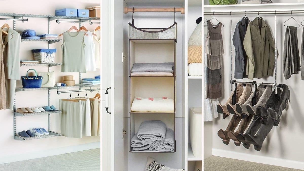 Rubbermaid closet organizer. Hanging storage shelf. Boot Butler in a closet.