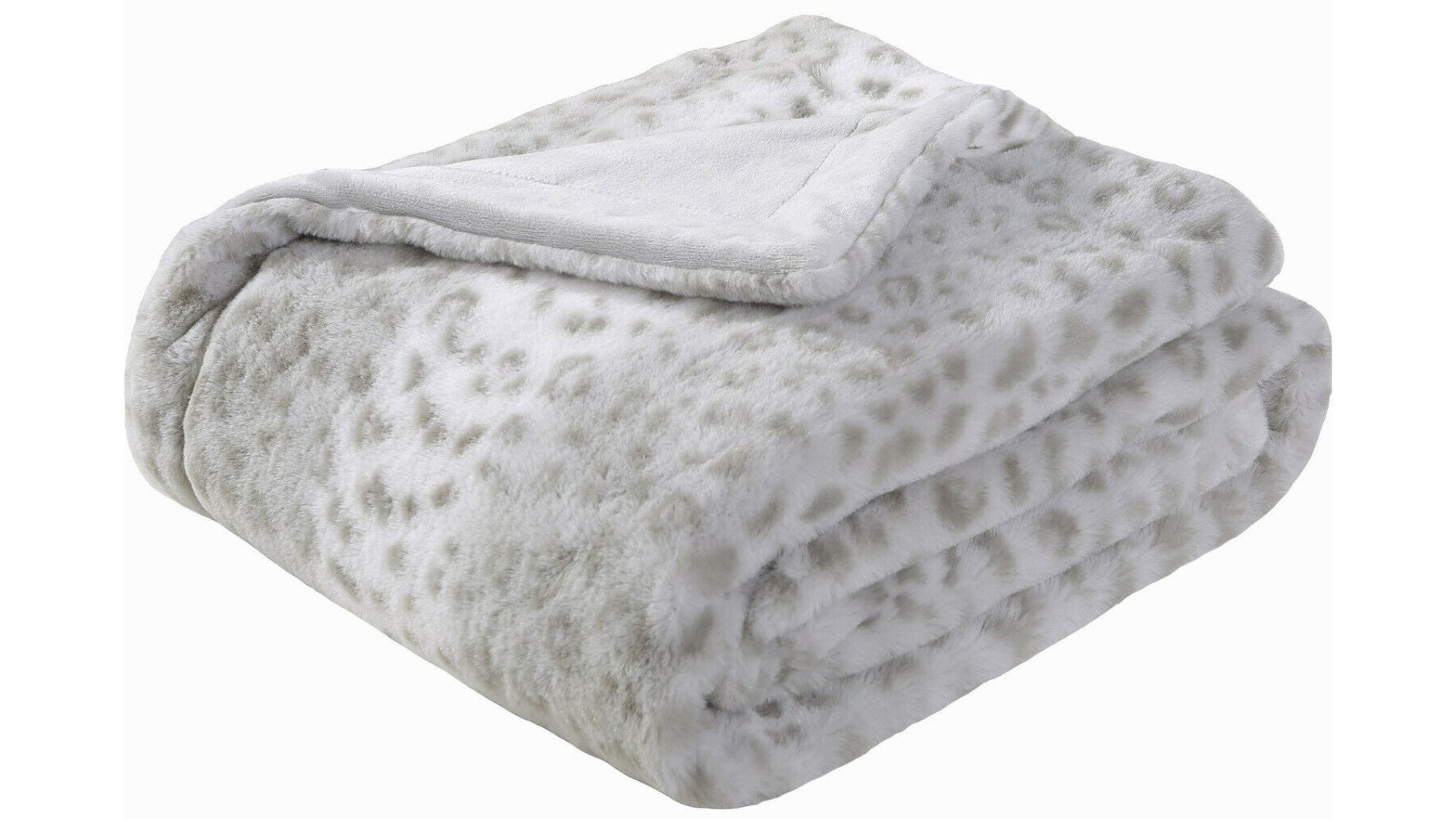 A folded gray leopard print blanket on a white background.