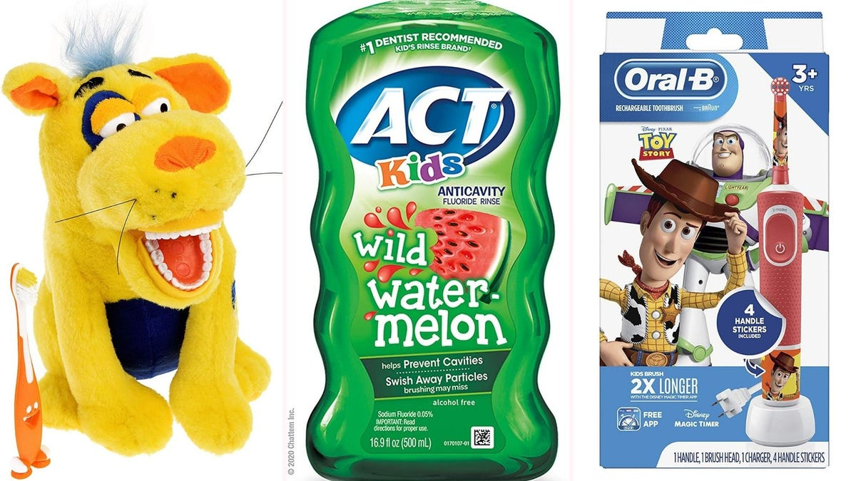 Ollie the dog, Act watermelon-flavored mouthwash, and an Oral-B Toy Story electric toothbrush