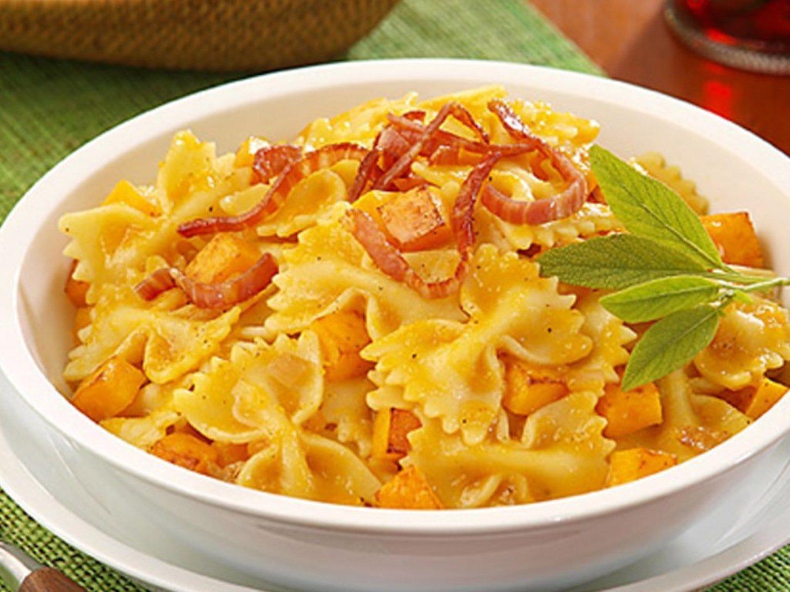 A dish of farfalle (bow-tie) pasta.