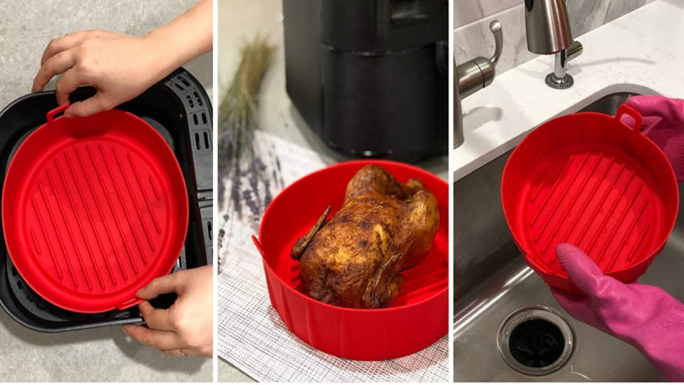 Three separate images demonstrating the functional use of a WAVELU silicone pot, including that the pot fits in the air fryer, cooks large amounts of food and can be washed by hand.