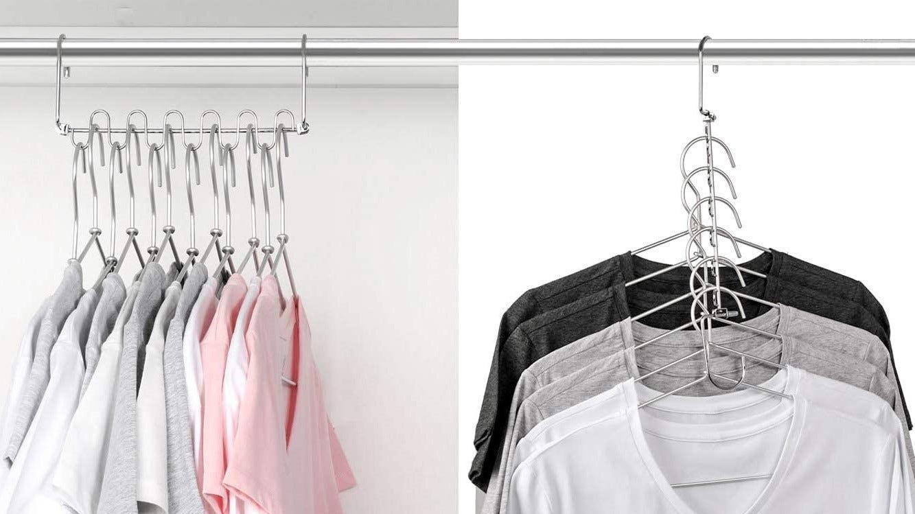 Clothing on cascading hangers.