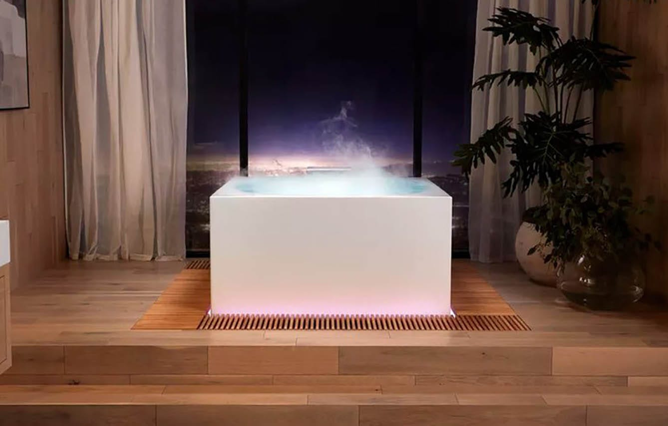This infinity tub with steam rising from it.