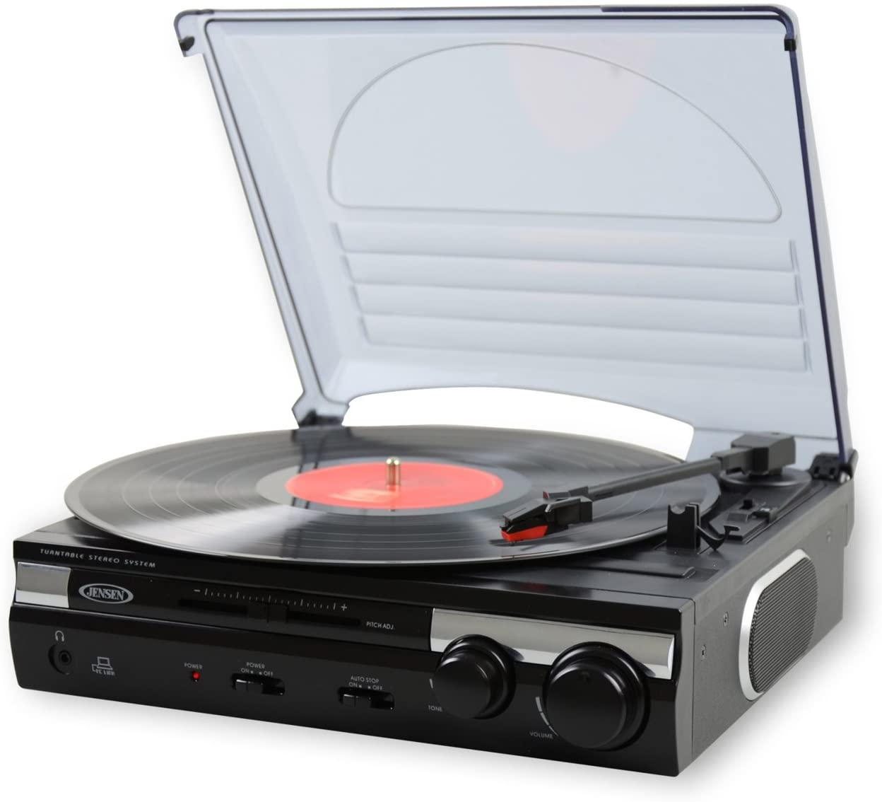 Small black record player with open lid