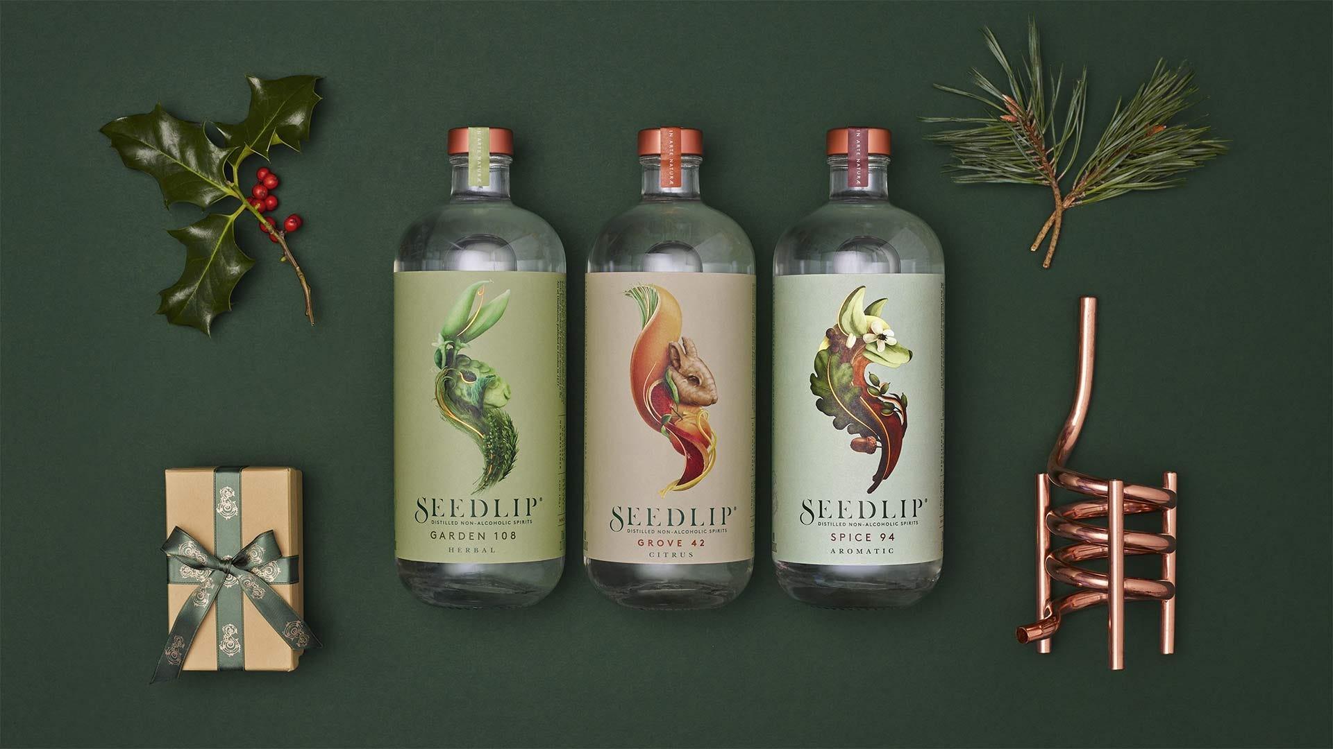 Various bottles of Seedlip non-alcoholic spirits.