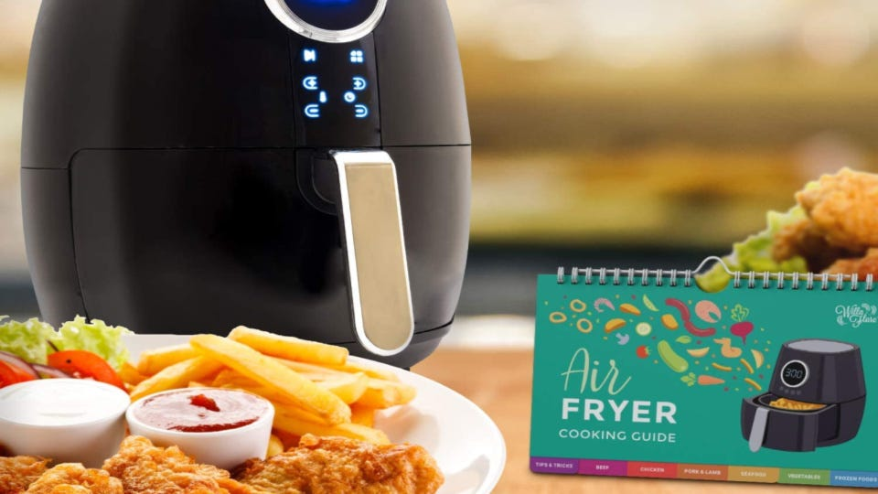 A set of Willa Flare cooking guide cheat sheets, with an air fryer and a plate of fried foods in the background.