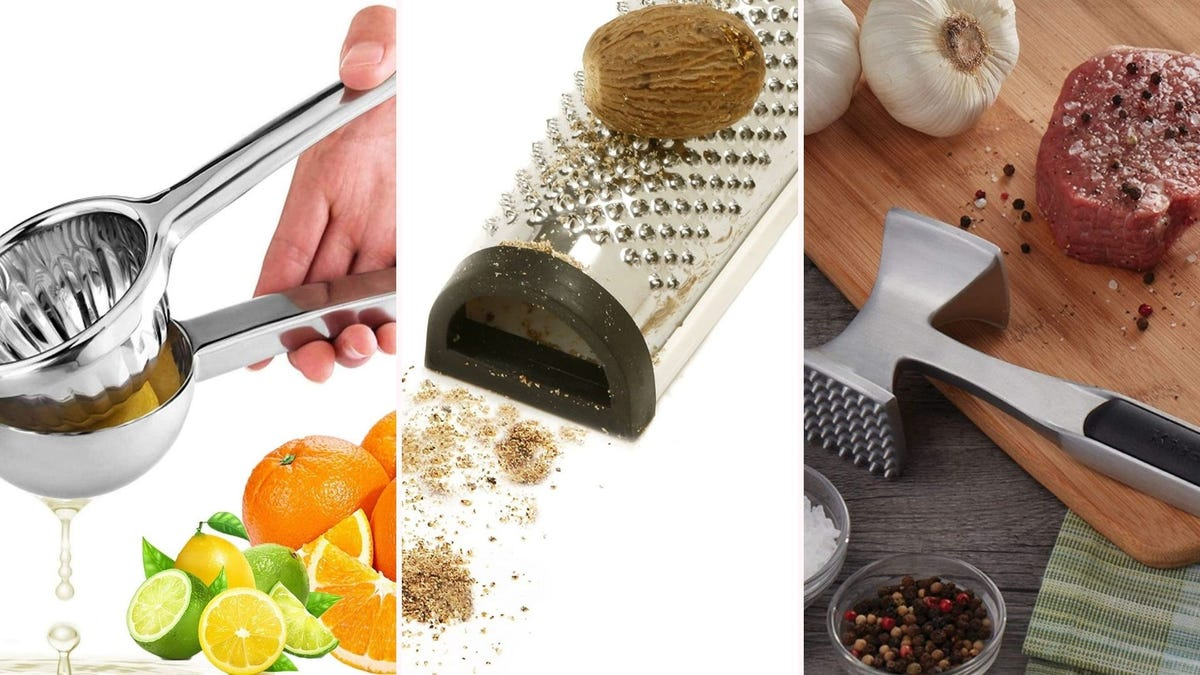 A citrus squeezer, a nutmeg grinder, and a meat tenderizer