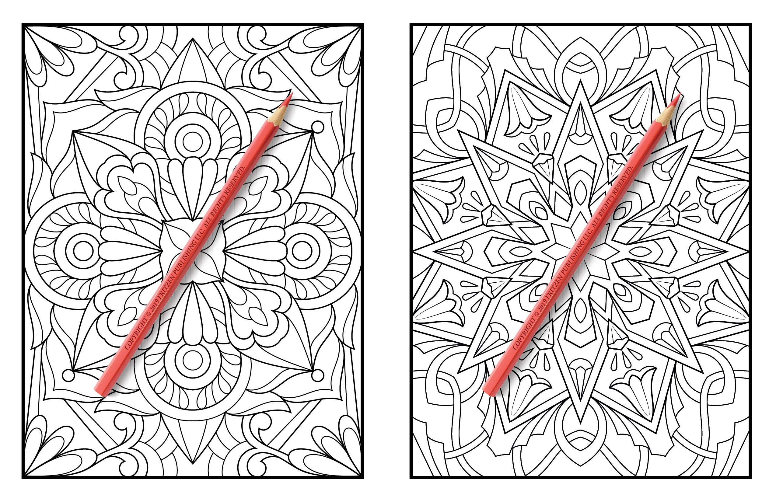 Two patterns in an adult coloring book with red colored pencils lying on top of them.